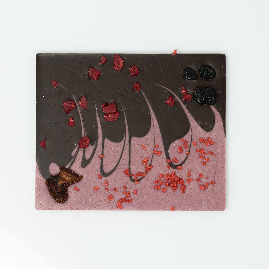 Salzschokolade Zartbitter mit Waldbeeren