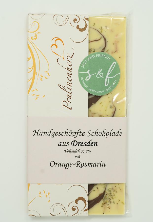 Salzschokolade Vollmilch mit Orange-Rosmarin und Himalayasalz