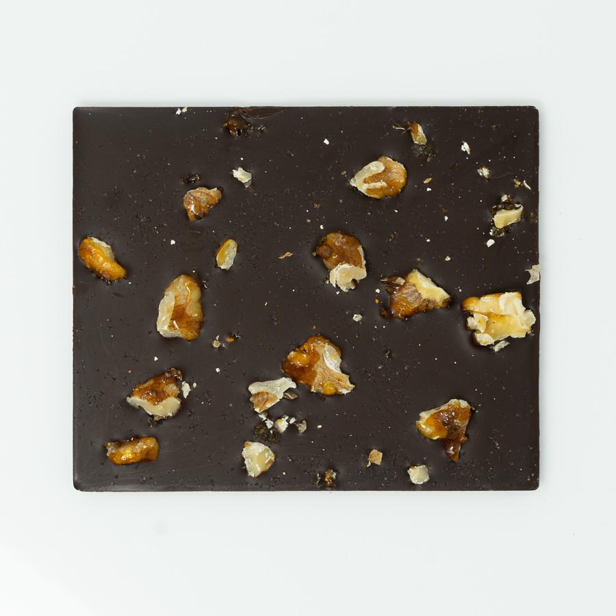 Salzschokolade Zartbitter mit Walnuss-Karamell